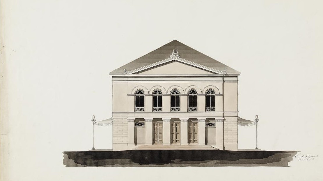 Architectonic drawing of Christiania Theatre